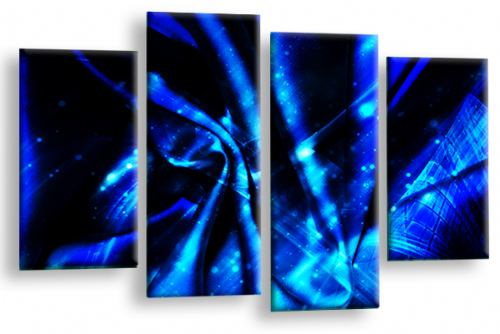 Modern Abstract Canvas Wall Art 2 Tone Blue Black Picture